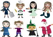 Vector children cartoon in profession uniform and  holiday clothes
