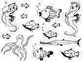 set of sketchy doodle sea animals