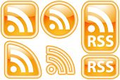 Vector Shiny, Glossy & Glowing RSS Icon Set (Neon Button Style)