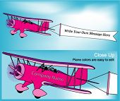 Vector Biplane & Banner (Easy to Customize Colors & Text)