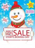 image of boxing day  - Vector Snowman Sale Design Set  - JPG