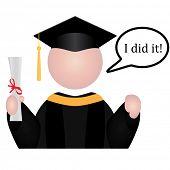 Ícone de estudante de graduação com discurso bolha dizendo