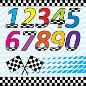 Vector racing theme design elements set.  Each on separate layers. contains checkered waving backgro