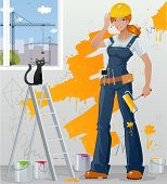 Workgirl holding paint-roller and smiling