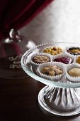 Wedding Buffet On Banquet With Sweet Chocolate And Berry Cookies Lying In Vase. Candy Bar In Luxury  poster