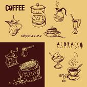 Coffee design hand drawn elements