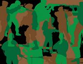 soldados de camuflagem