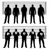 stock photo of police lineup  - Police line up silhouettes - JPG