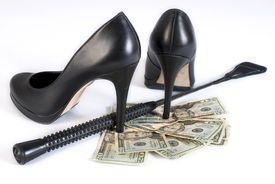 foto of flogging  - Strict Black Leather Flogging Whip high heels shoes and money on white background - JPG