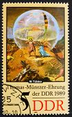 Postage stamp GDR 1989 Globe, Detail by Werner Tubke
