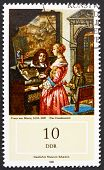 Postage stamp GDR 1982 Music Making at Home by Frans van Mieris