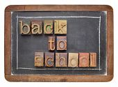 back to school concept - text in vintage letterpress wood type on a slate blackboard