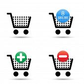 Vector shopping cart trolley icons set. Includes