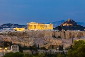 stock photo of parthenon  - View on Acropolis at night - JPG