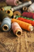 Coloured cotton spools of thread