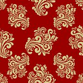 Hand-drawn seamless pattern with decorative floral ornament