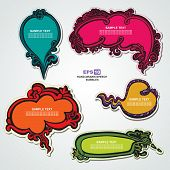 Set of vintage, retro, speech bubbles and stickers with floral elements for decoration and design