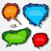 Set of retro, multicolored, speech bubbles and stickers with floral elements for decoration and desi