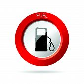 Gas Pump Red Icon Vector Illustration