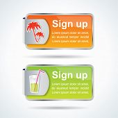 Editable sign up buttons with summer icons and colors