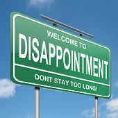 foto of disappointment  - Illustration depicting a green roadsign with a disappointment concept - JPG