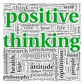 Positive thinking concept in word tag cloud on white background