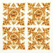 Teste padrão de flor dourada de Damasco sem costura
