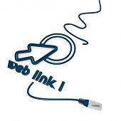 stock photo of cat5  - Smoky black  isolated click here 3d graphic with isolated web link symbol with cat5 network cable - JPG
