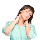 Nurse or woman medical doctor having neck pain