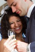 Young Couple Raising Wedding Toast