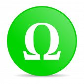 omega green circle web glossy icon