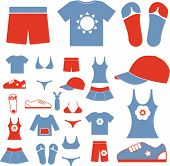 summer beach, sea clothes, dress icons, signs set, vectro