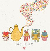 Magic vector set. Cartoon funny card with cupcakes, owl and teapot