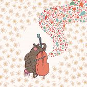 Funny bear �¢�?�? musician playing on cello. Cartoon childish vector card. Bright cartoon backgr