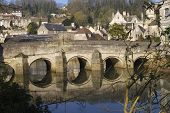 stock photo of avon  - Town bridge over river at Bradford on Avon - JPG
