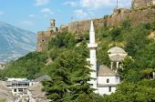 stock photo of sufi  - Teqe Mosque And Tower Clock in Gjirokaster - JPG