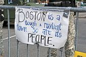 Boston - Apr 20: Memorial Set Up On Boylston Street In Boston, Usa On April 20, 2013.