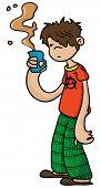 hand drawn cartoon illustration of sleepy boy holding a cup of coffee