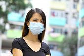 Asian woman wear protective face mask