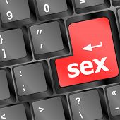 Sex Button On Laptop Keyboard, art illustration 3d