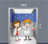 Illustration of the two doctors inside the elevator