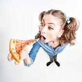 Cute Funny Girl With Two Pony Tails Eating Pizza - Wide Angle Shot