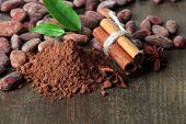 stock photo of cocoa beans  - Cocoa beans - JPG