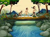 Illustratie van de evolutie van de mens aan de rivier