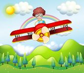 picture of float-plane  - Illustration of a boy riding in a red plane - JPG