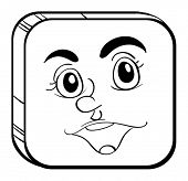 Illustration of a square face on a white background