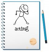 Illustration of a notebook with a sketch of a person acting at the cover page on a white background