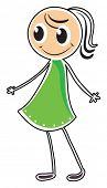 Abbildung einer Dame in ein grünes Kleid auf weißem Hintergrund