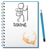 Illustration of a notebook with a sketch of a person hiking on a white background