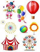 stock photo of joker  - Illustration of a clown playing balls with different circus stuffs on a white background - JPG